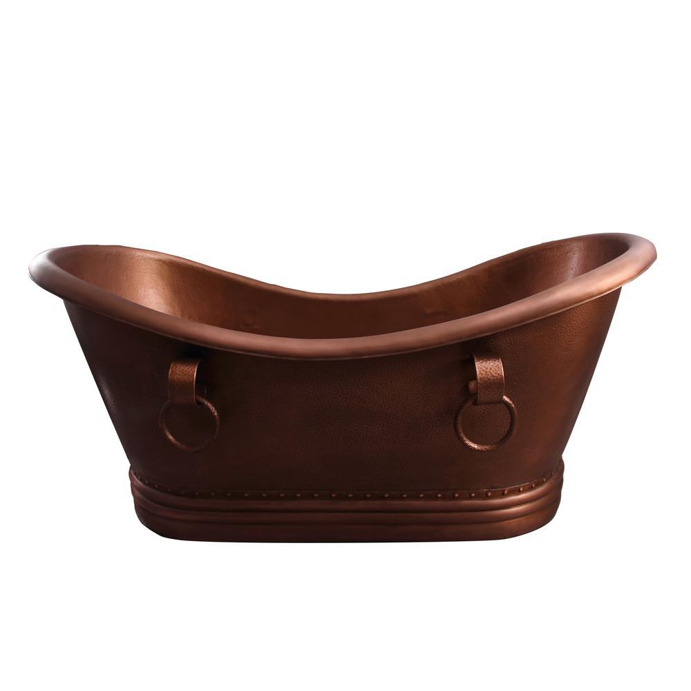 Bolero 72 in. Copper Double Slipper Flatbottom Non-Whirlpool Bathtub