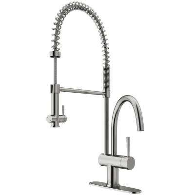 Dresden Single-Handle Pull-Down Sprayer Kitchen Faucet with Deck Plate in Stainless Steel