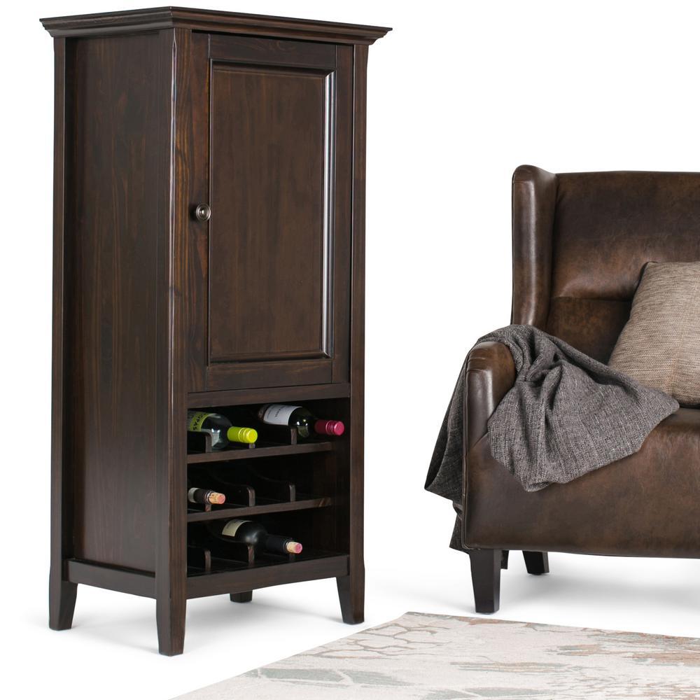 Simply Home Amherst 12-Bottle Rich Dark Brown Bar Cabinet...