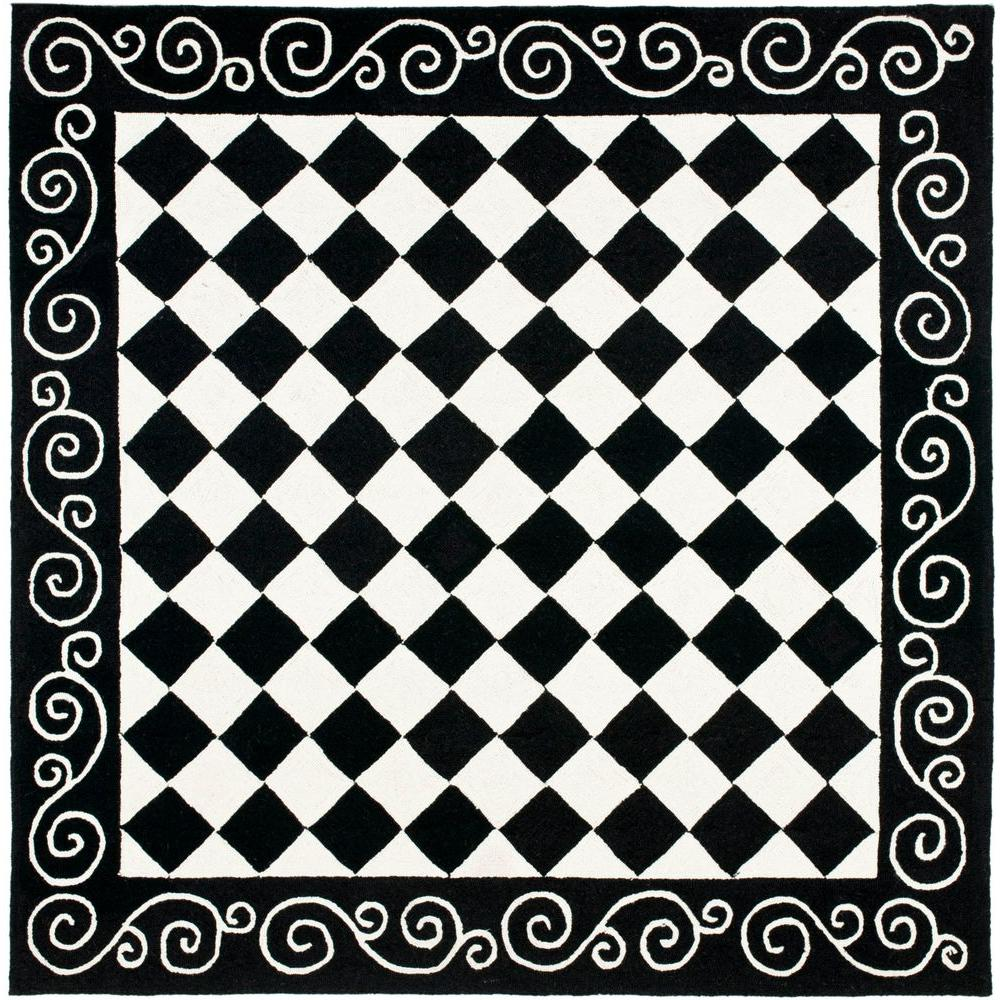 Safavieh Chelsea Black Ivory 6 Ft X Square Area Rug