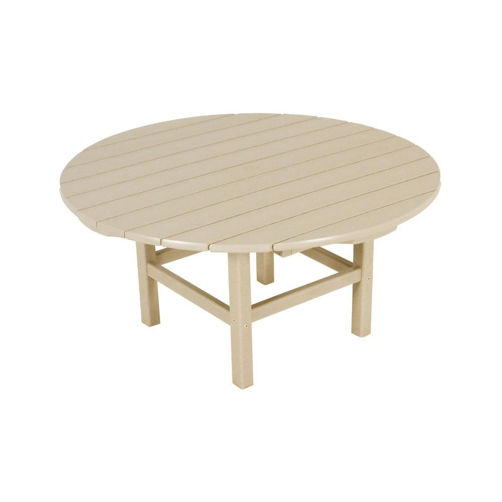 POLYWOOD Sand 38 In. Round Patio Conversation Table