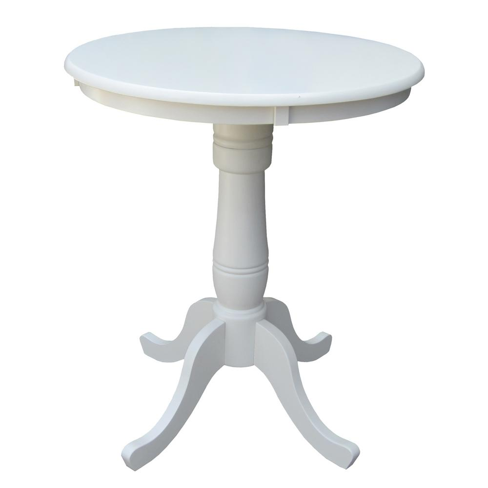 CorLiving Adjustable Height White Swivel Round Bar Table