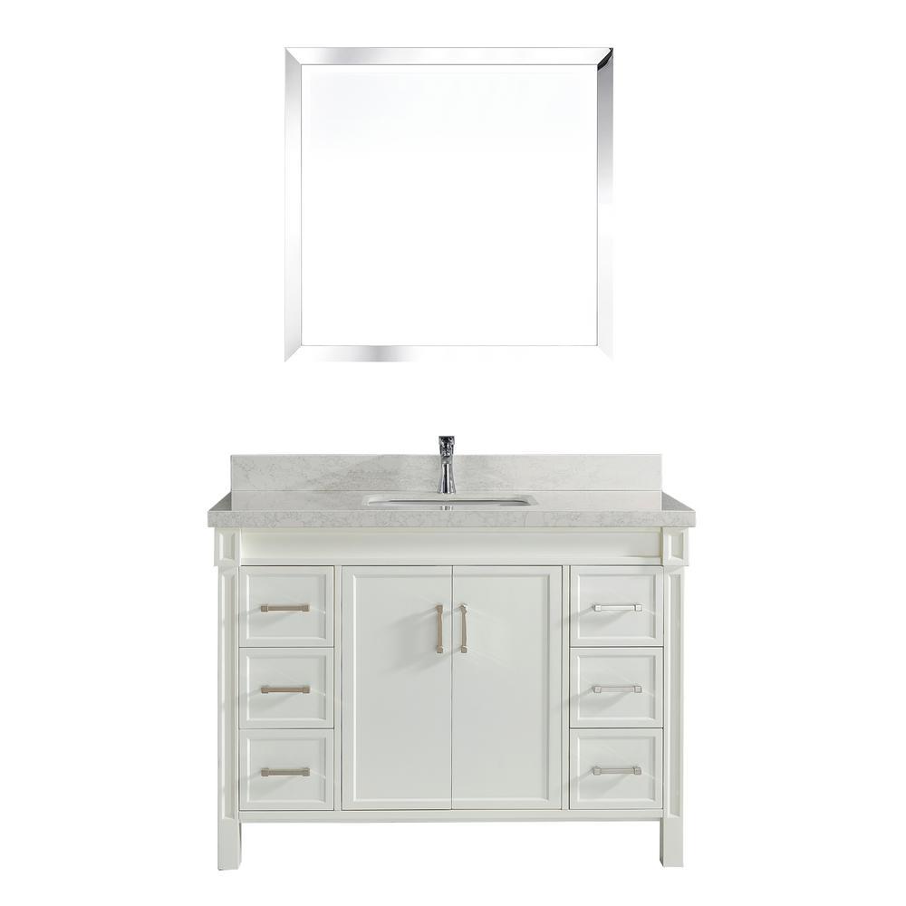 Serrano 48 in. W x 22 in. D Vanity in White with Engineered Vanity Top in White with White Basin and Mirror