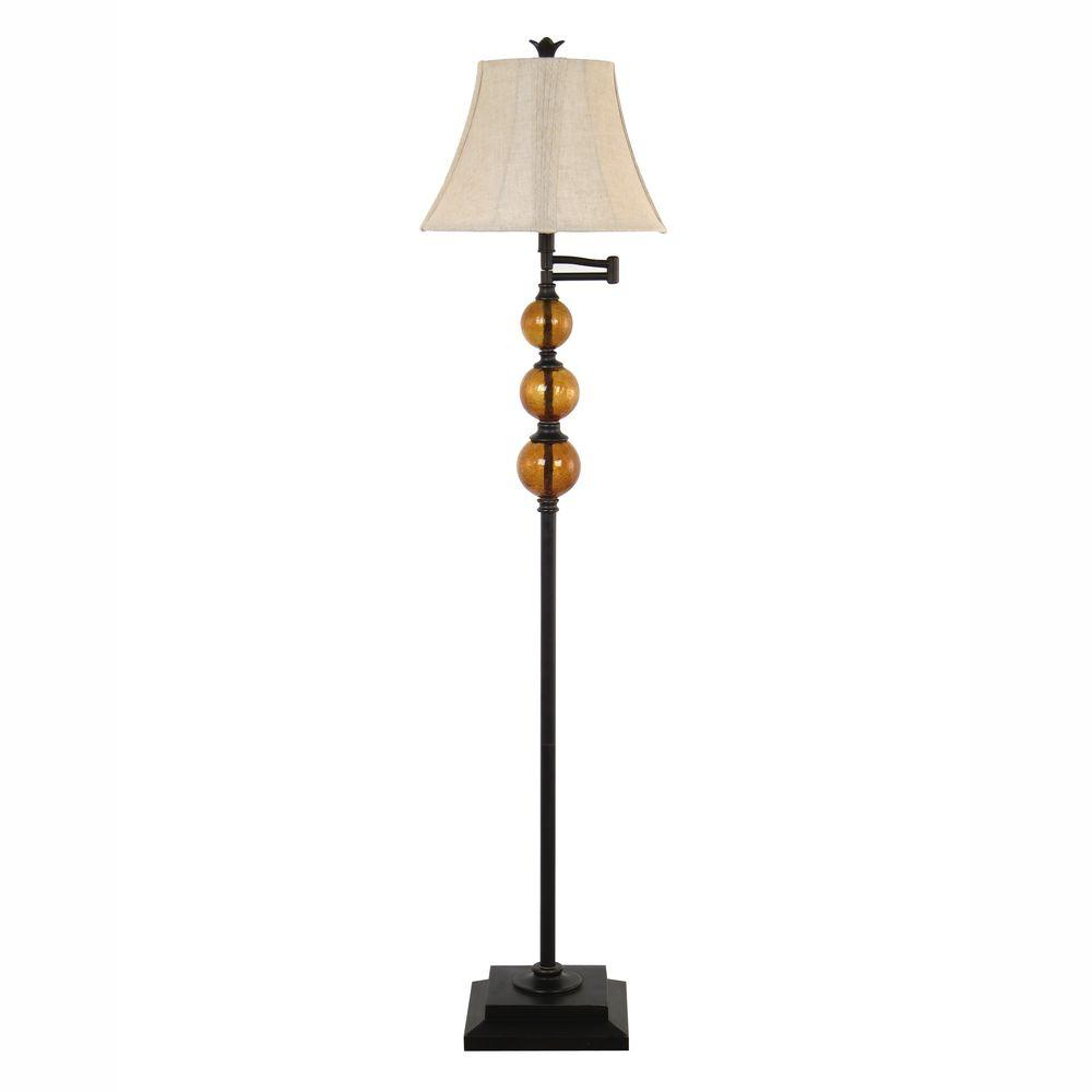 61 in. Dark Bronze Swing Arm Floor Lamp with Champagne Crackled