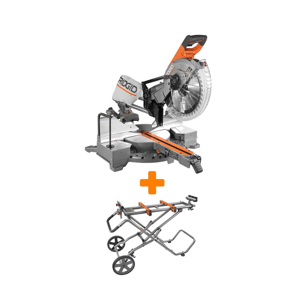 ridgid miter saw stand. ridgid 15 amp 12 in. dual bevel sliding miter saw with mobile stand-r4221-ac9946 - the home depot ridgid stand