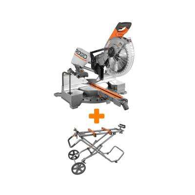 15 Amp 12 in. Dual Bevel Sliding Miter Saw with Mobile Miter Saw Stand