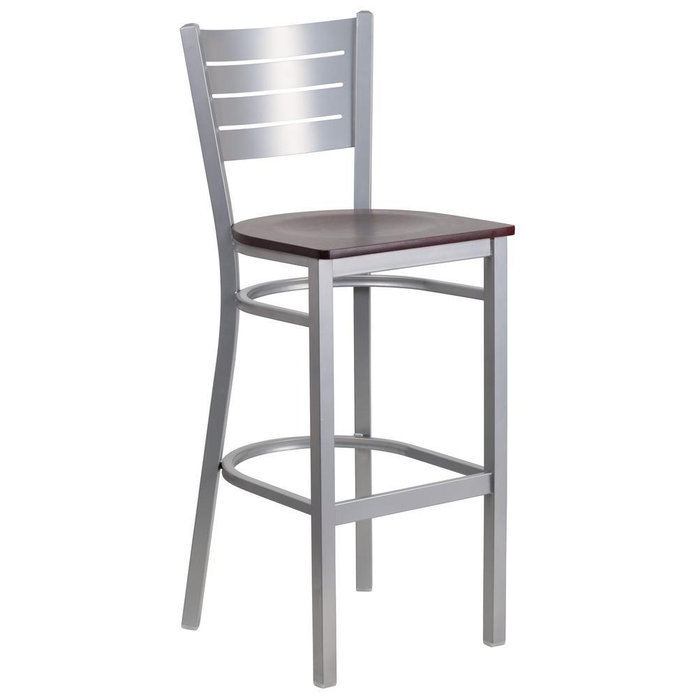 Mahogany and silver bar stool