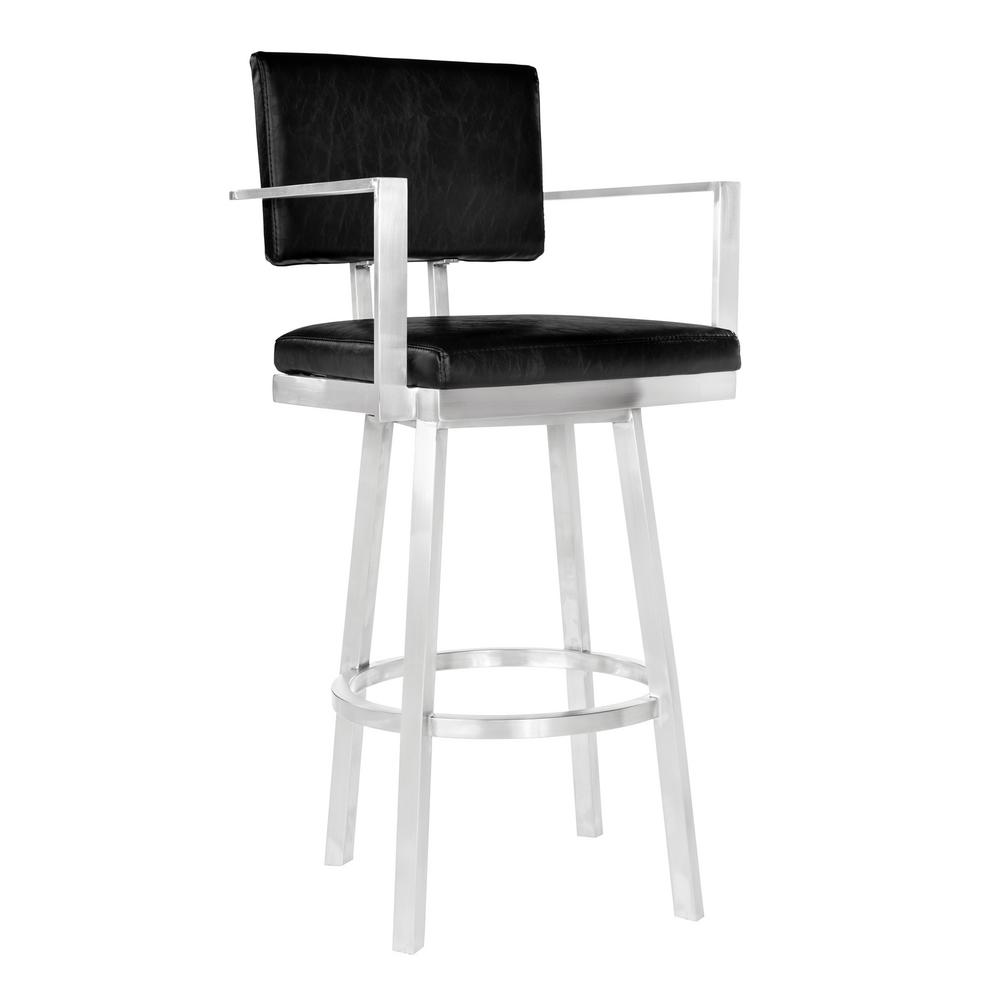 Ordinaire Armen Living Boseman 30 In. Black Swivel Bar Stool