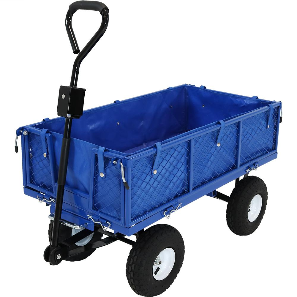 Sunnydaze Decor Heavy,Duty Steel Dumping Utility Garden Cart with Folding  Sides and Poly Liner Set , Blue
