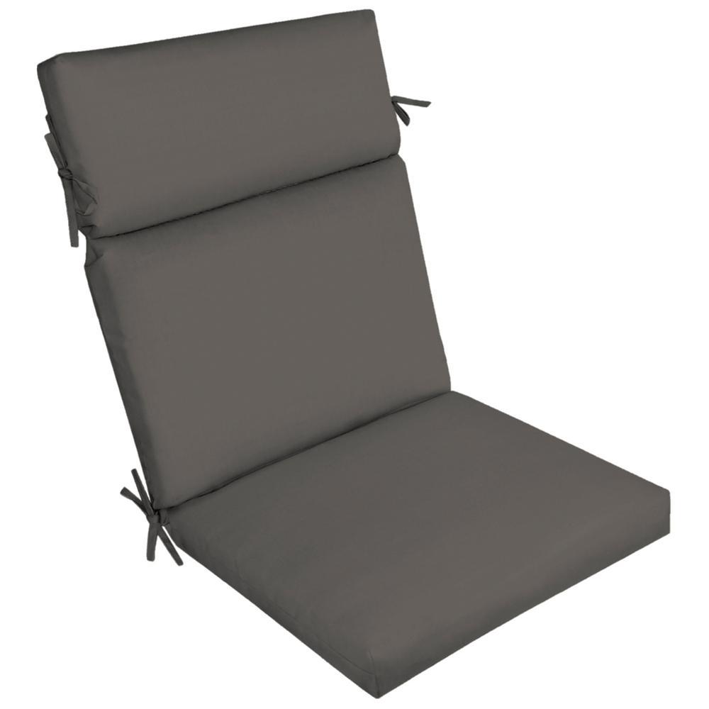 21 x 44 Slate Canvas Texture High Back Outdoor Dining Chair Cushion