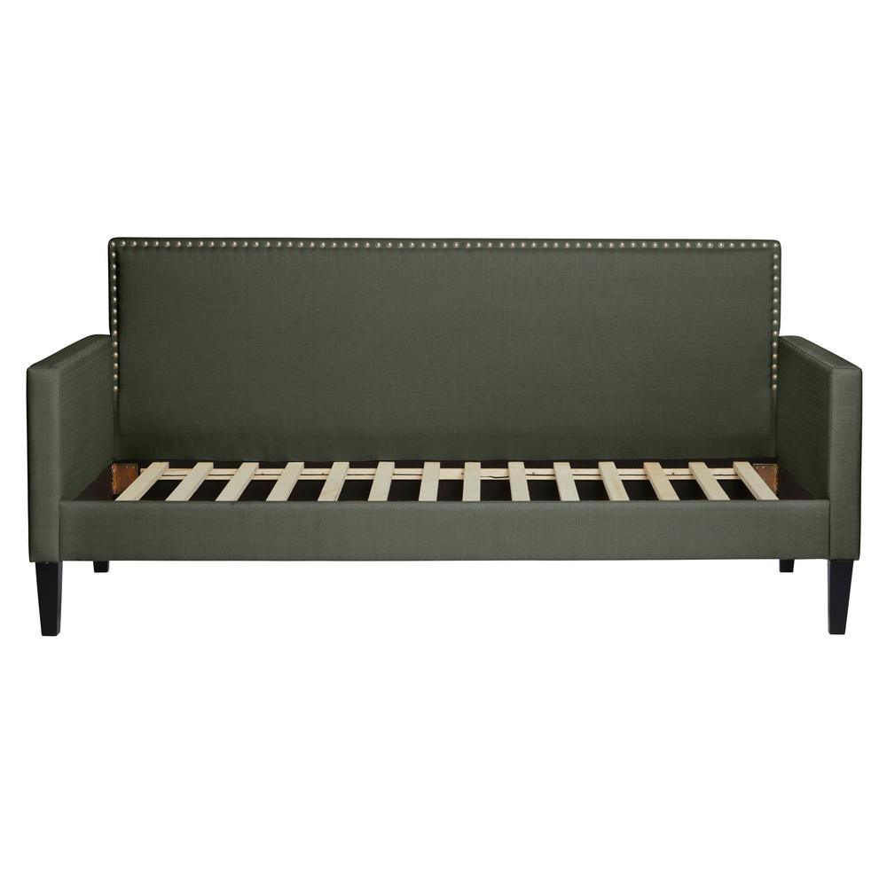 Gray Upholstered Twin-size Square Back Daybed