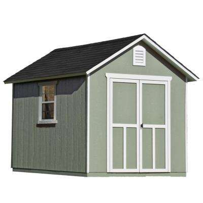 Installed Meridian 8 ft. x 10 ft. Wood Storage Shed with Black Onyx Shingles
