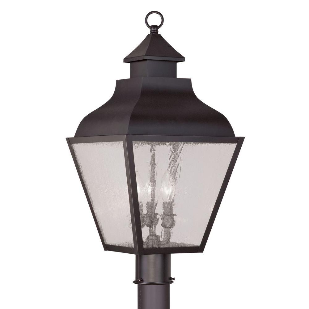Livex Lighting Providence 3-Light 23.5 in. Outdoor Bronze Post Head Lantern