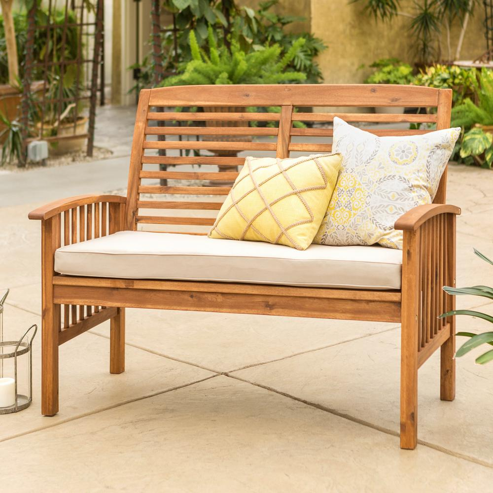 Walker Edison Furniture Company Boardwalk 48 In Brown Acacia Wood Outdoor Loveseat Bench With White