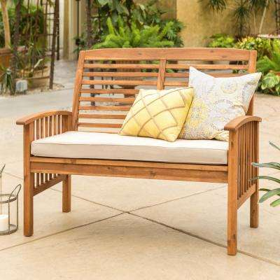 Boardwalk 48 in. Brown Acacia Wood Outdoor Loveseat Bench with White Cushions