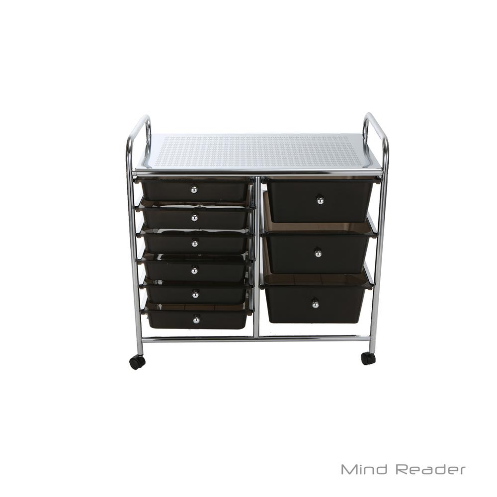 Mind Reader Top Shelf Metal 4 Wheeled Storage Drawer Cart With 9 Drawers In