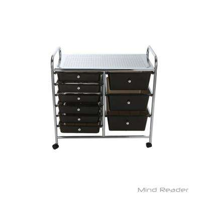 Top Shelf Metal 4-Wheeled Storage Drawer Cart with 9-Drawers in Silver/Black