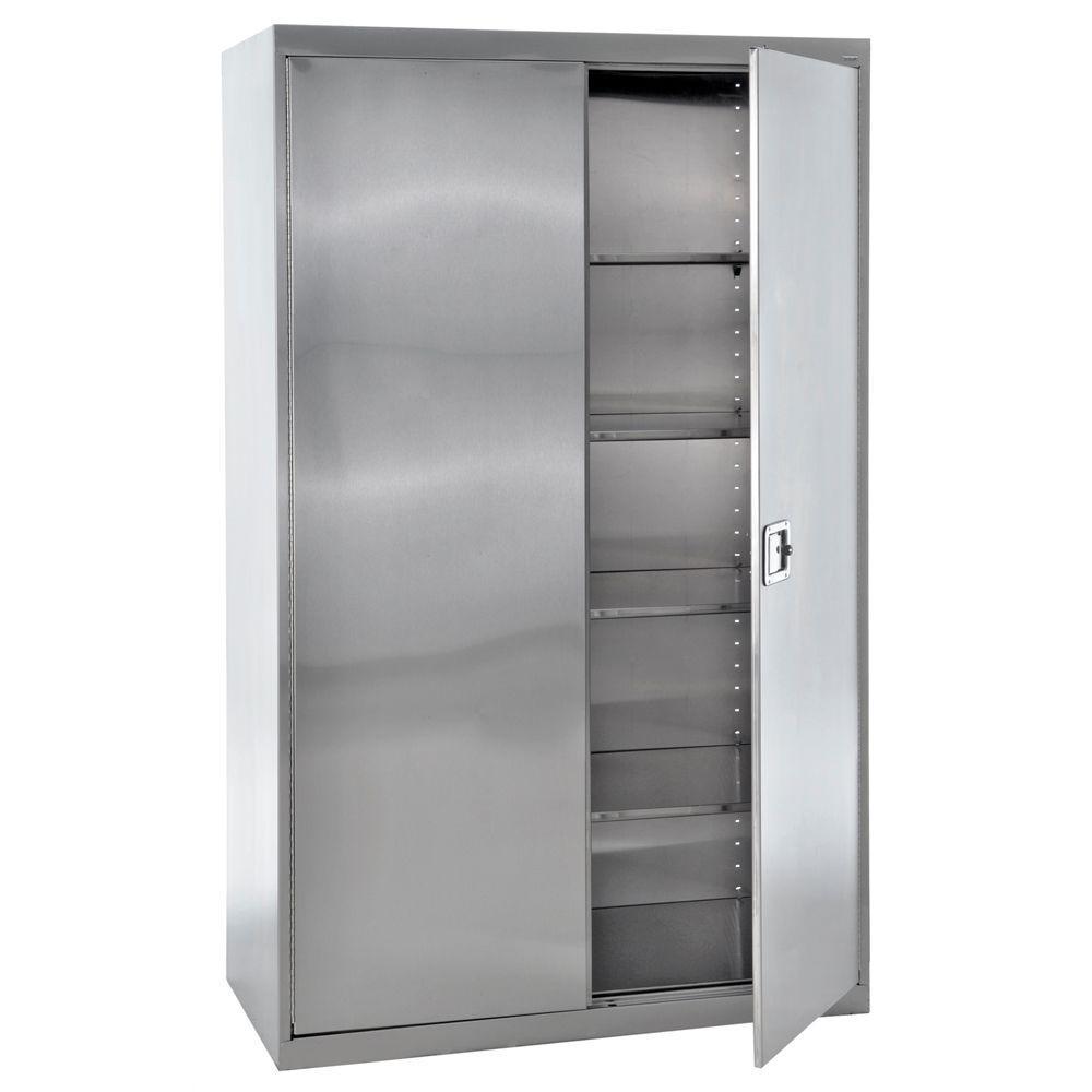 78 in. H x 48 in. W x 24 in. D 5-Shelf Stainless Steel Freestanding Garage Cabinet