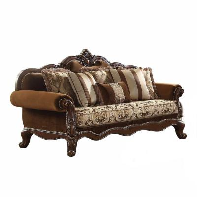 Amelia 37 in. Cherry Oak Pattern Fabric 4-Seater Cabriole Sofa with Removable Cushions