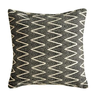 Square Cotton Black and White 18 in. x 18 in. Throw Pillow with Zig Zag Design