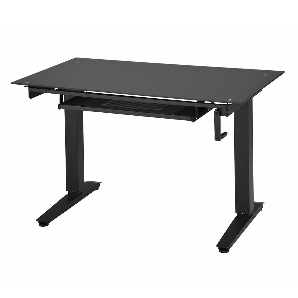 Techni Mobili Black Adjustable Standing Desk With Pull Out