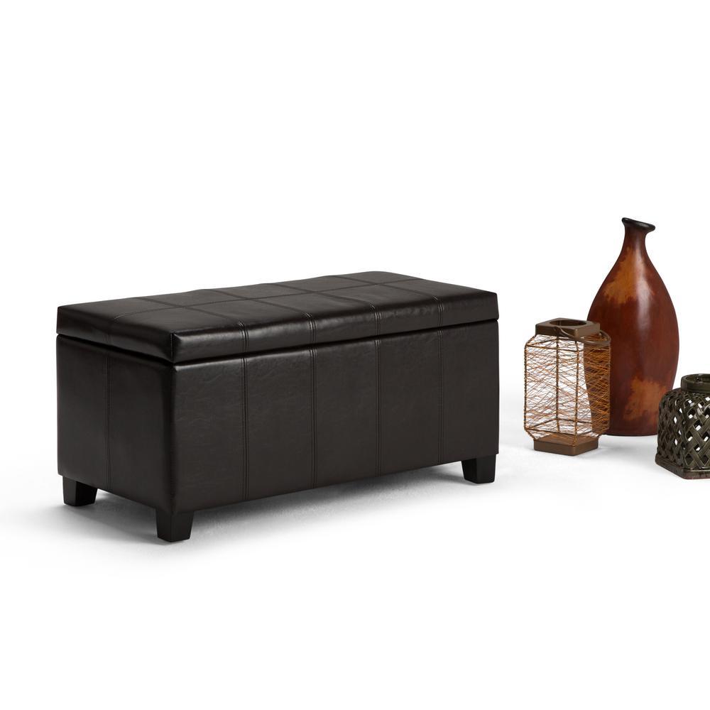 Simpli Home Cosmopolitan Rectangular Tufted Faux Leather