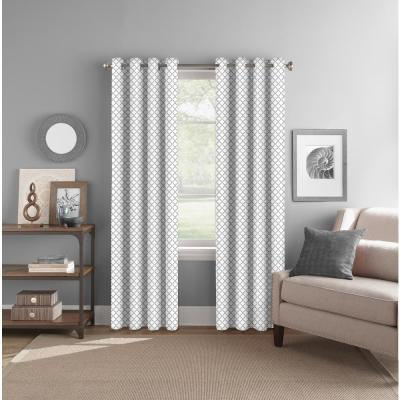 "Room Darkening Geo Grey Grommet Curtain Panel 52"" W x 84"" L"