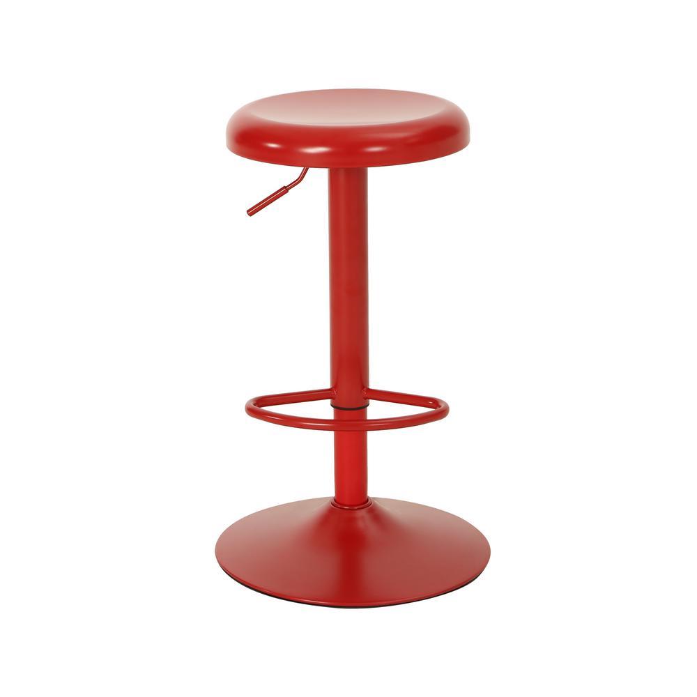 Bordero 32.5 in. Red Adjustable Iron Bar Stool