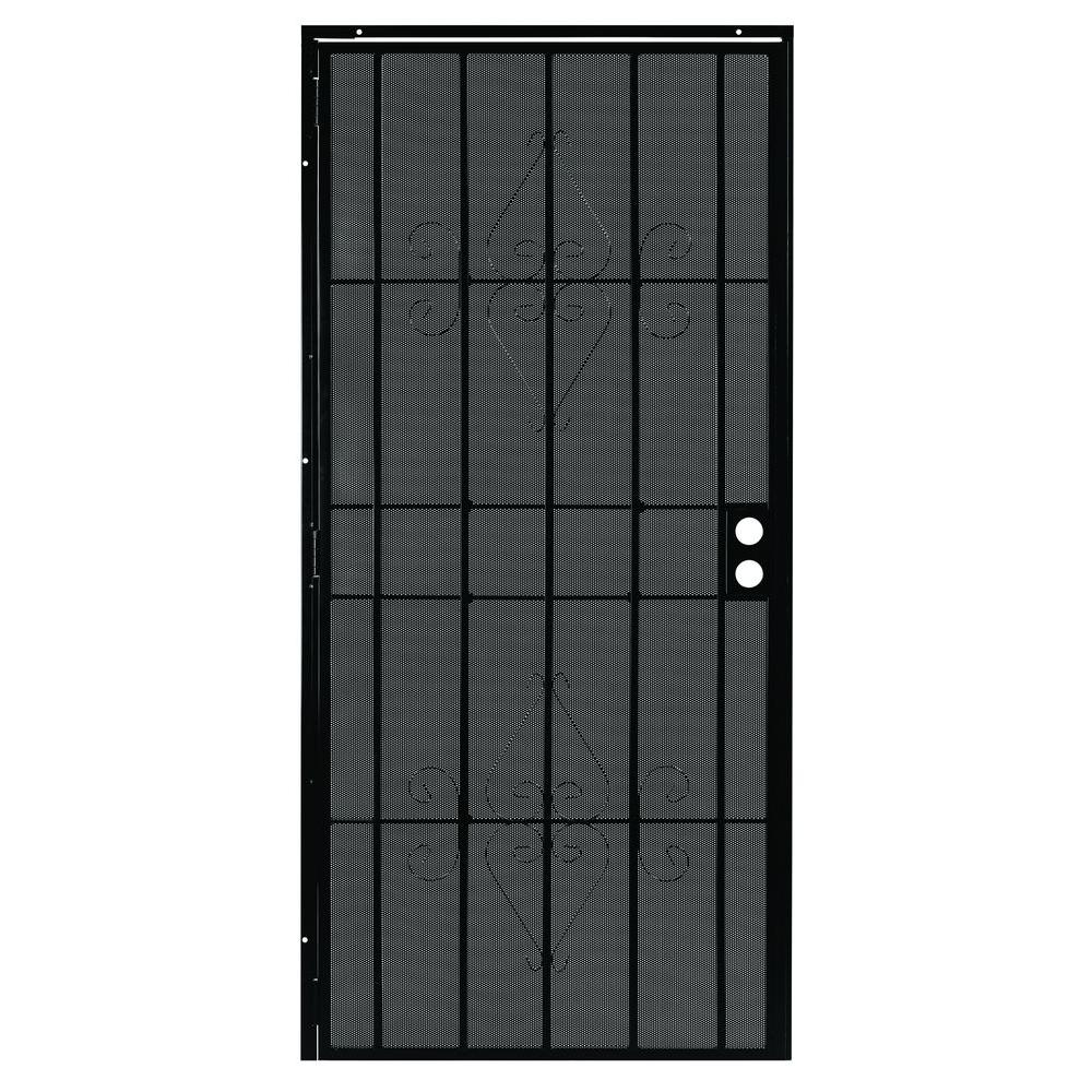 First Alert 36 in. x 80 in. Charleston Black Steel Prehung Security Door