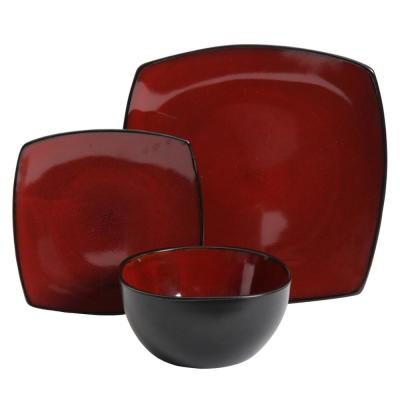 Soho Lounge 12-Piece Red Dinnerware Set
