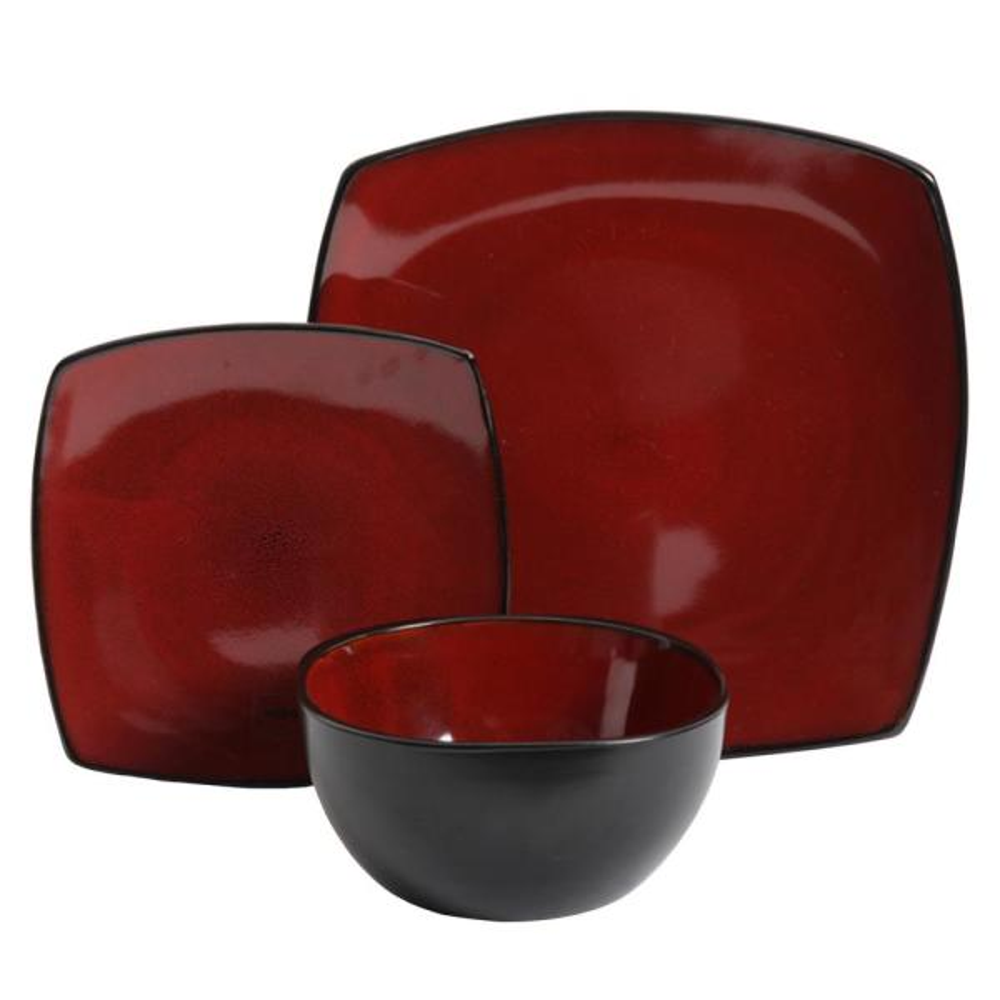 Gibson Soho Lounge 12-Piece Red Dinnerware Set 985100220M