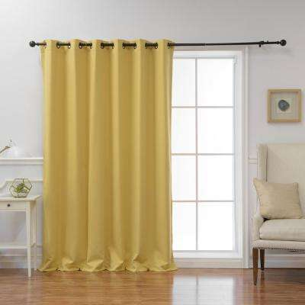 Wide Basic 80 in. W x 96 in. L Blackout Curtain in Mustard