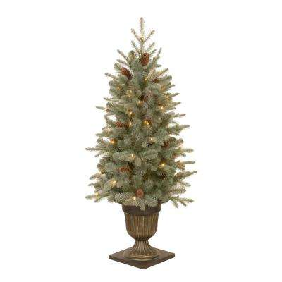 4.5 ft. Feel-Real Alaskan Spruce Potted Artificial Christmas Tree with Pinecones and 100 Clear Lights