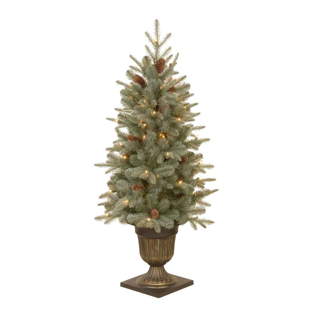 Home Accents Holiday 4.5 ft. Feel-Real Alaskan Spruce Potted Artificial Christmas Tree with Pinecones and 100 Clear Lights