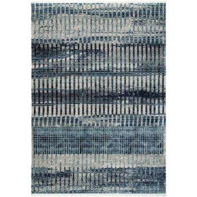 Contemporary Shaded Fringe Carlee Blue 2 ft. 6 in. x 8 ft. Runner