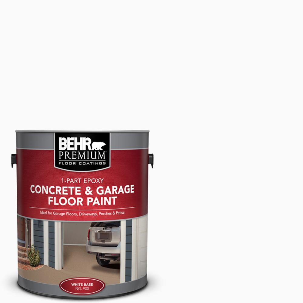 BEHR Premium 1 Gal. White 1-Part Epoxy Satin Interior/Exterior Concrete and Garage Floor Paint