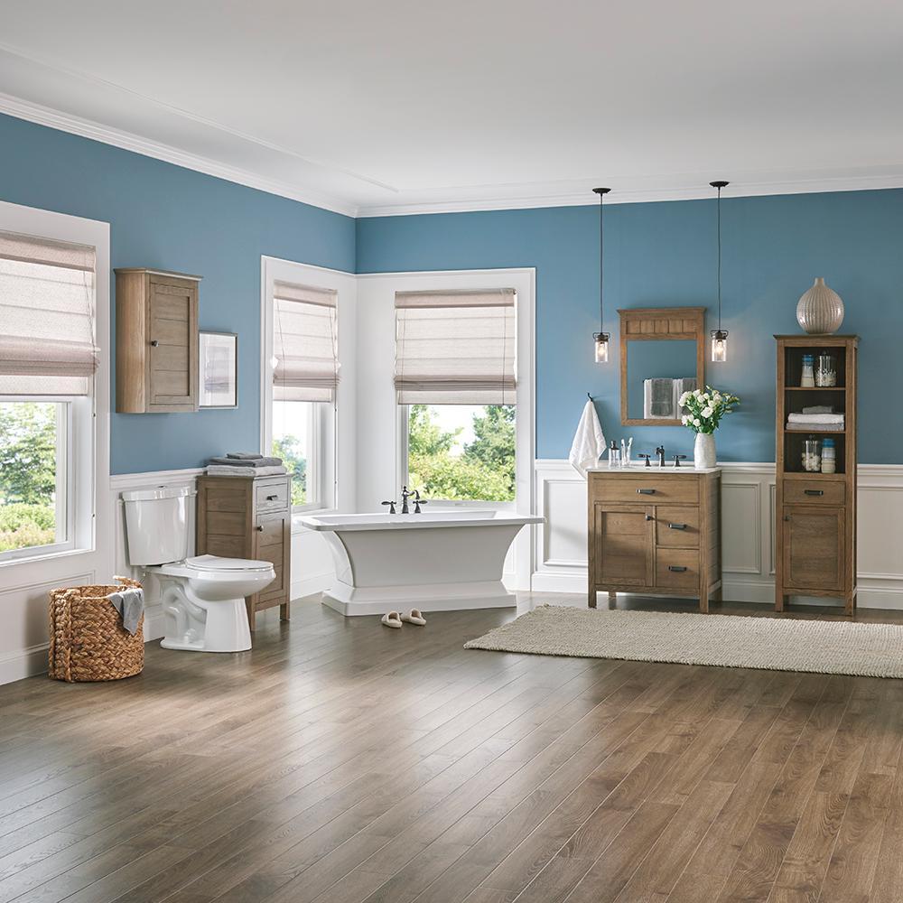 Stanhope 31 in. W x 22 in. D Vanity in Reclaimed Oak and Engineered Stone Vanity Top in Creamed Coffee with White Sink