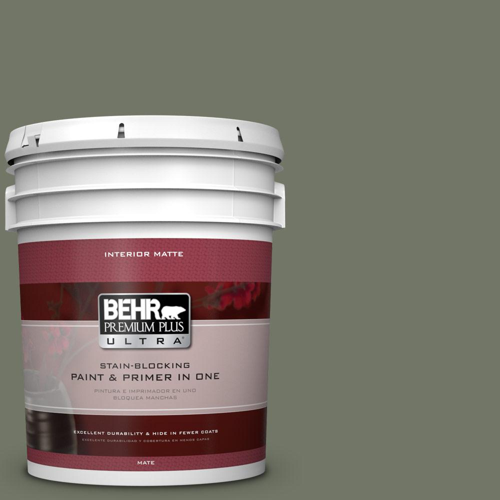 BEHR Premium Plus Ultra 5 gal. #PPU10-19 Conifer Green Flat/Matte Interior Paint