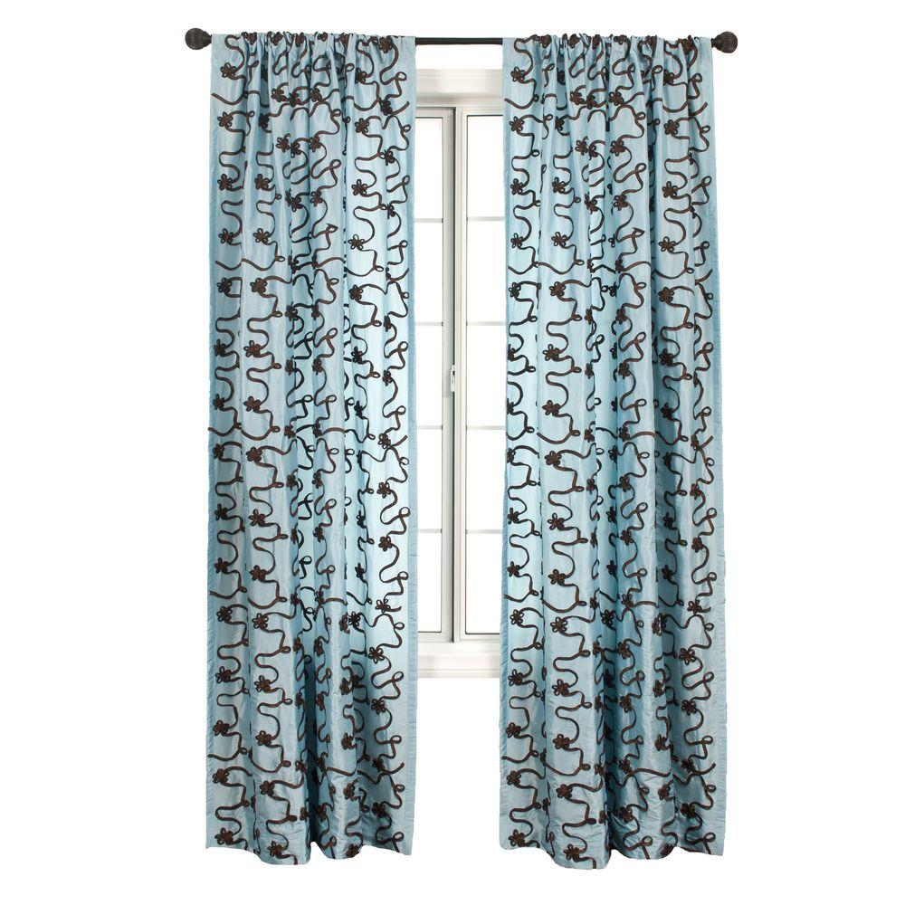 Home Decorators Collection Sheer French Blue/Chocolate Bliss Rod Pocket Curtain - 54 in.W x 84 in. L
