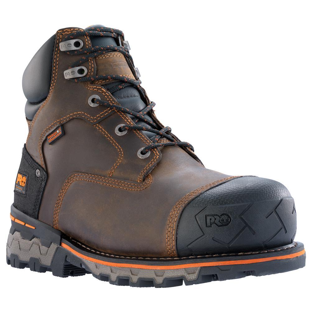 Timberland PRO Men's Boondock Waterproof 6'' Work Boots Composite Toe Brown Size 13(M)