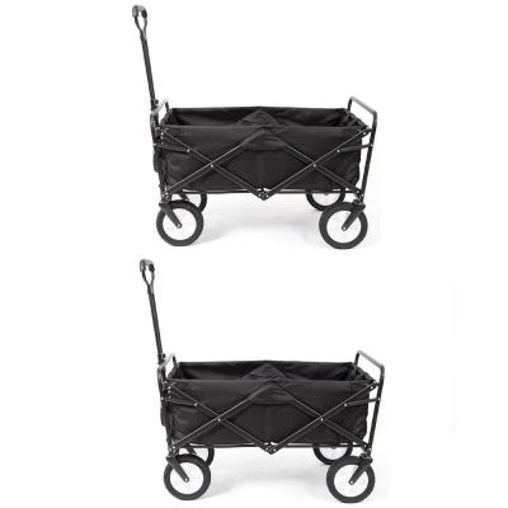 Collapsible Folding Frame Outdoor Garden Utility Wagon Cart (2 Pack)