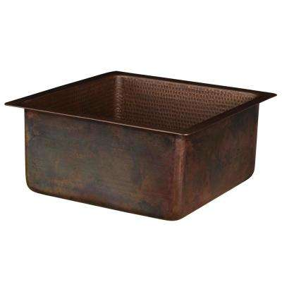 Dual Mount Hammered Copper 16 in. Single Bowl Kitchen/Bar/Prep Sink in Oil Rubbed Bronze