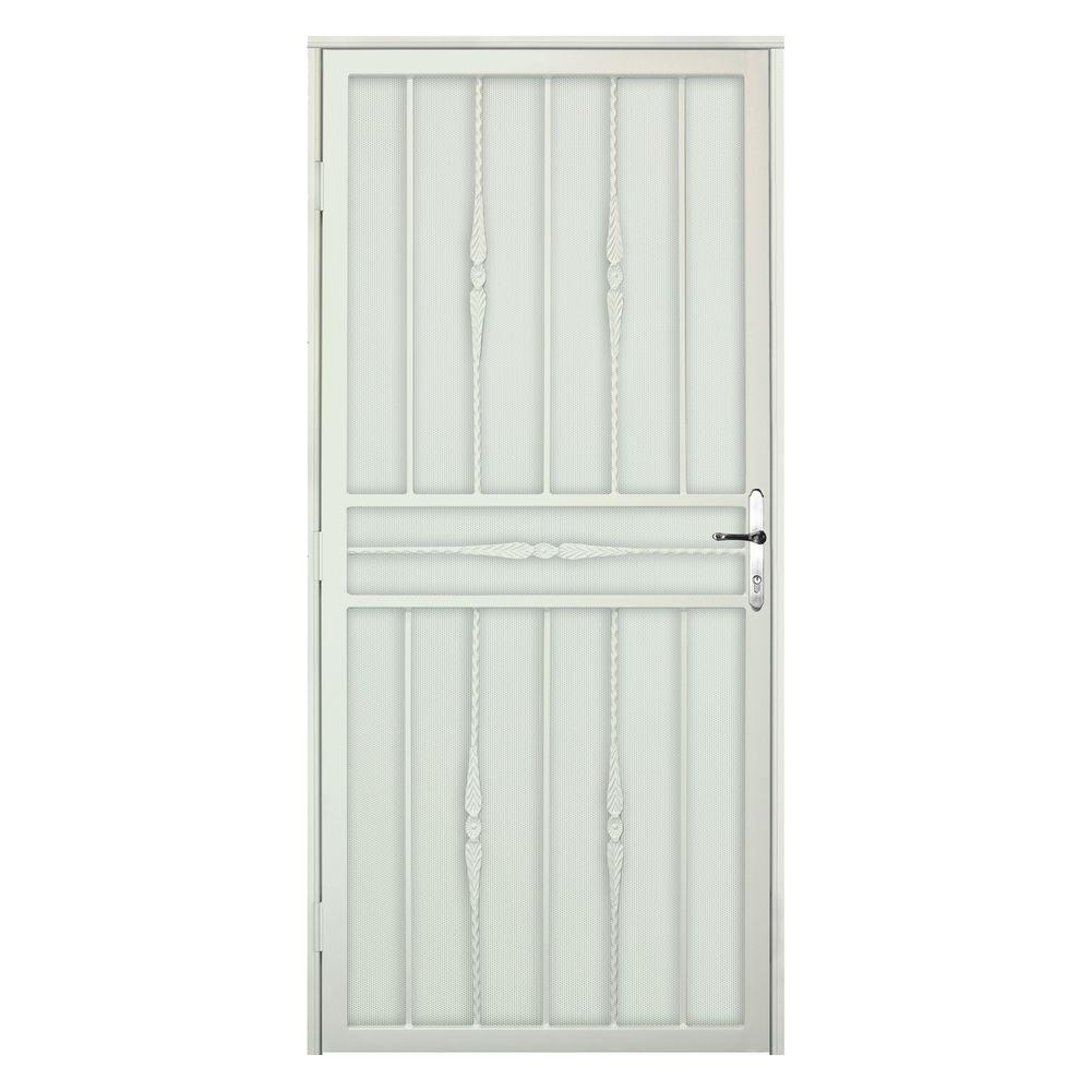 Unique Home Designs 36 in. x 80 in. Cottage Rose Navajo Recessed Mount Steel Security Door with Perforated Metal Screen and Nickel Hardware