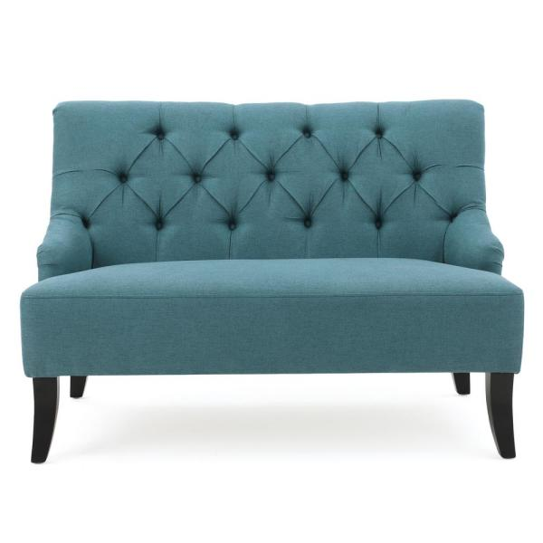 Noble House 2-Seat Dark Teal Tufted Back Fabric Loveseat 10383