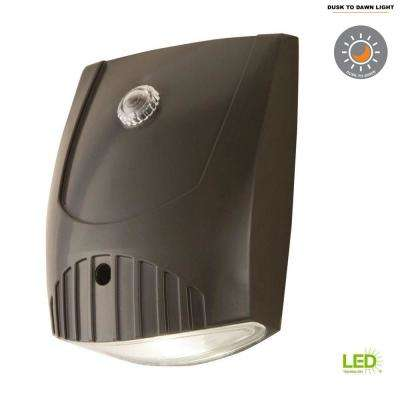Bronze Integrated LED Outdoor Wall Pack Light with Dusk to Dawn Photocell Sensor, 1600 Lumens, 5000K Daylight