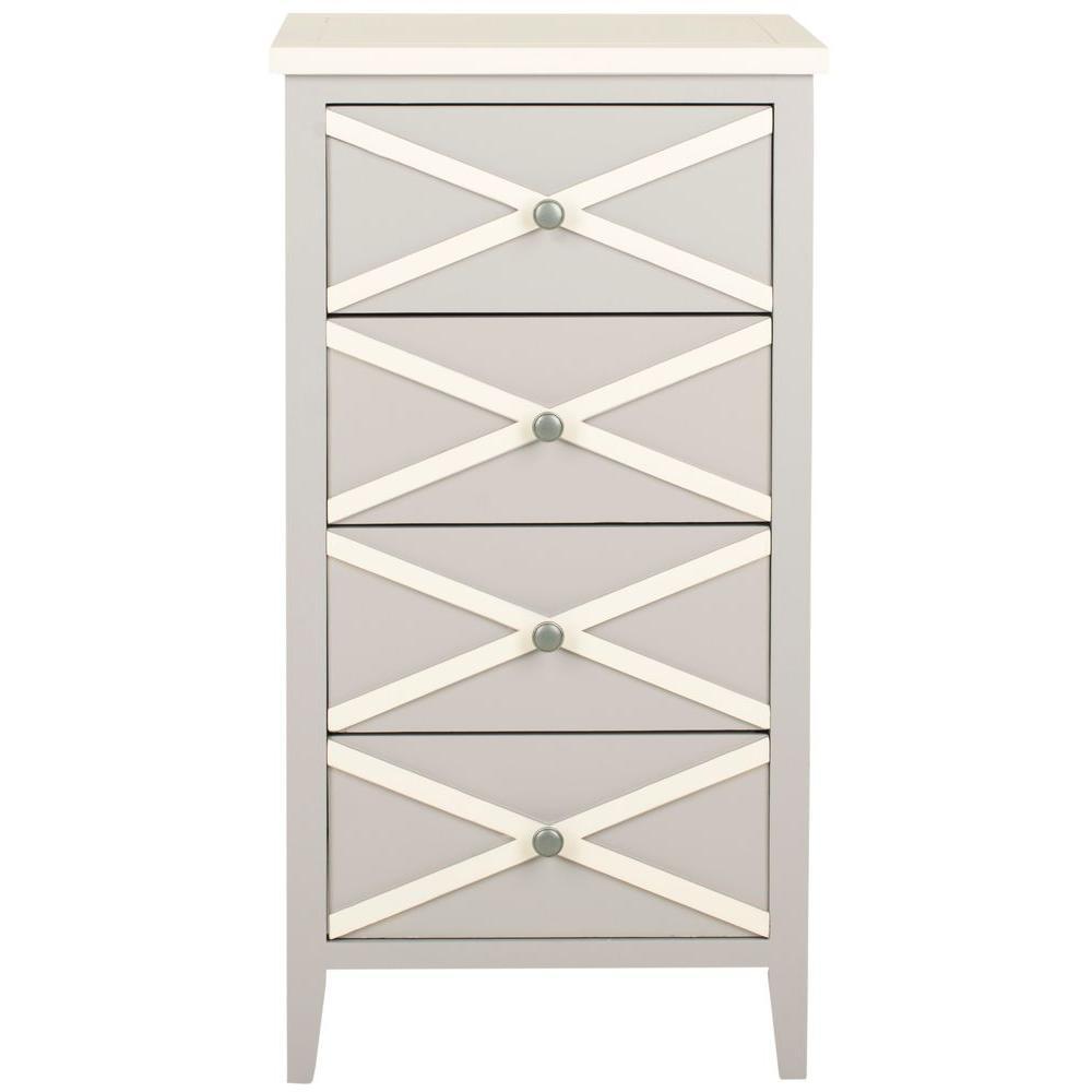 Safavieh sherrilyn gray and white storage end table for White end table with storage