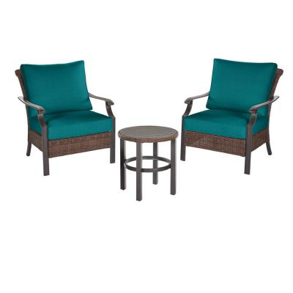 Harper Creek  Brown 3-Piece Steel Outdoor Patio Chair Set with Sunbrella Peacock Blue-Green Cushions