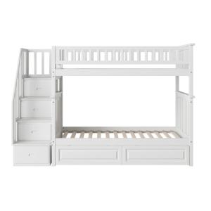 Columbia Staircase Bunk Bed Twin Over Twin with 2 Raised Panel Bed Drawers in White