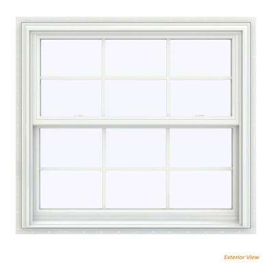 39.5 in. x 40.5 in. V-2500 Series White Vinyl Double Hung Window with Colonial Grids/Grilles
