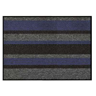 Textura Blue 18 in. x 30 in. Vinyl-Backed Entrance Mat